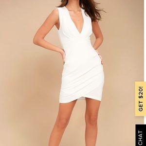 Lulus Cocktail Hour Ivory Wrap Dress, Sz M